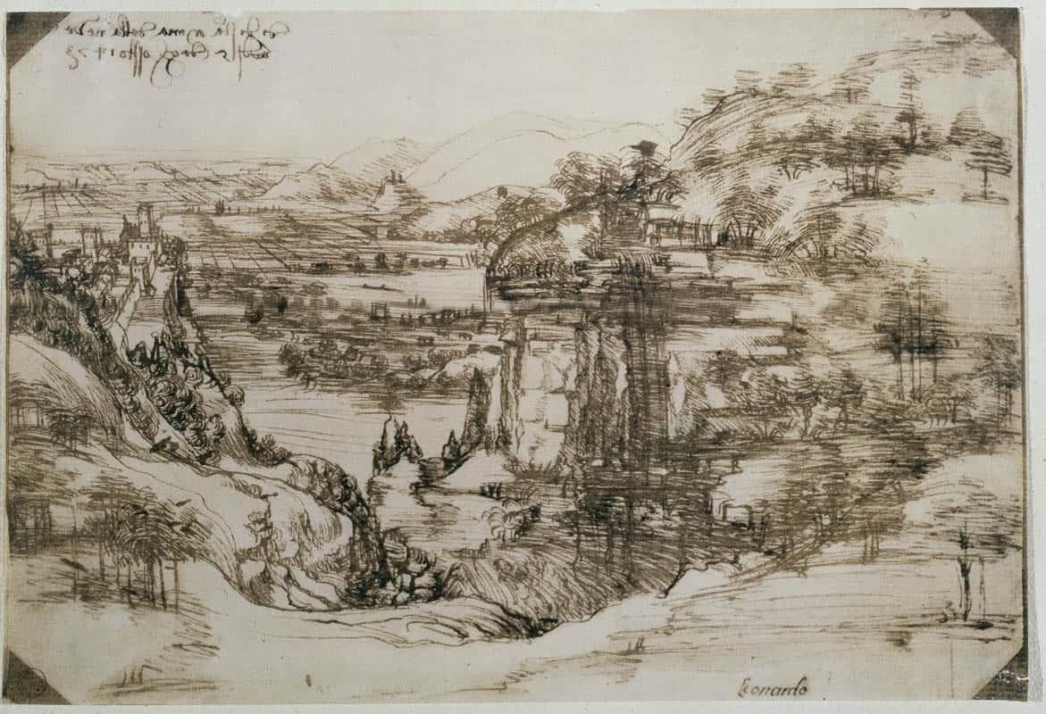 Leonardo Da Vinci, Paesaggio (5 agosto 1473) penna e inchiostro ferrogallico di due diverse tonalità su carta, 196 ✕ 287 mm Firenze, Gabinetto Disegni e Stampe degli Uffizi