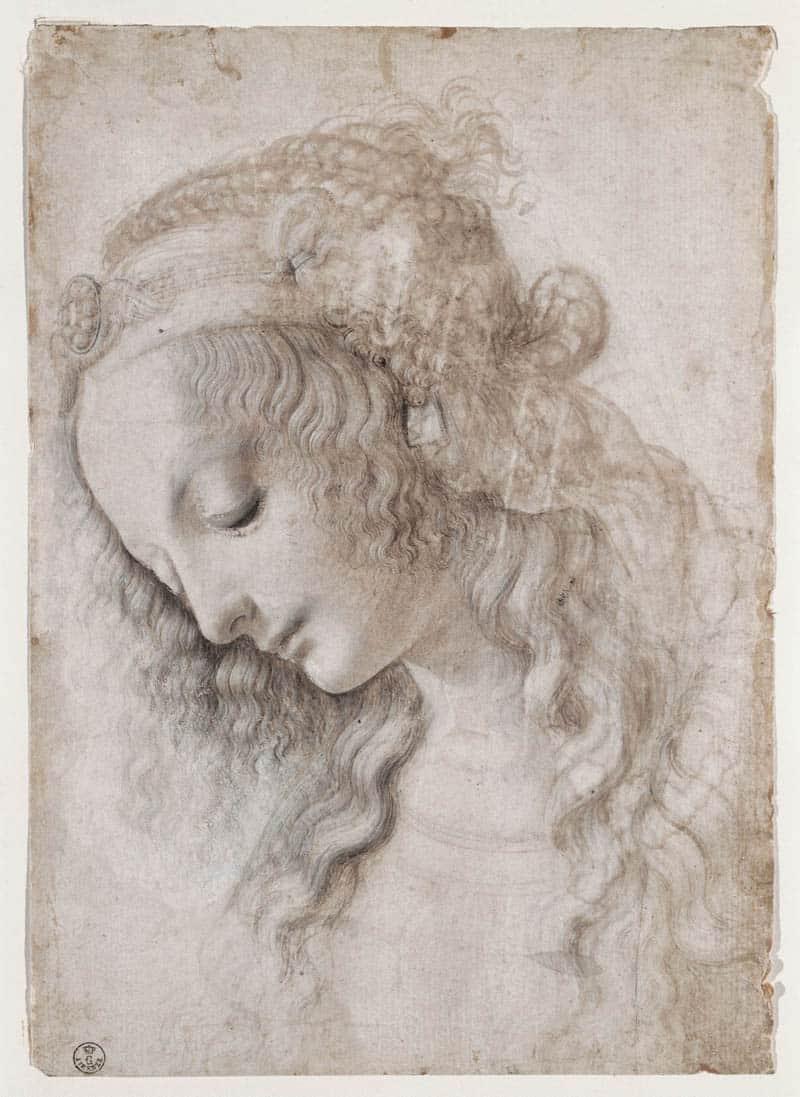 leonardo Da Vinci, Studio di volto femminile (1468-1475 circa) pietra nera (o punta di piombo), penna, pennello inchiostri marrone e grigio, biacca (parzialmente ossidata), su carta preparata avorio, 281 ✕ 199 mm Firenze, Gabinetto Disegni e Stampe degli Uffizi