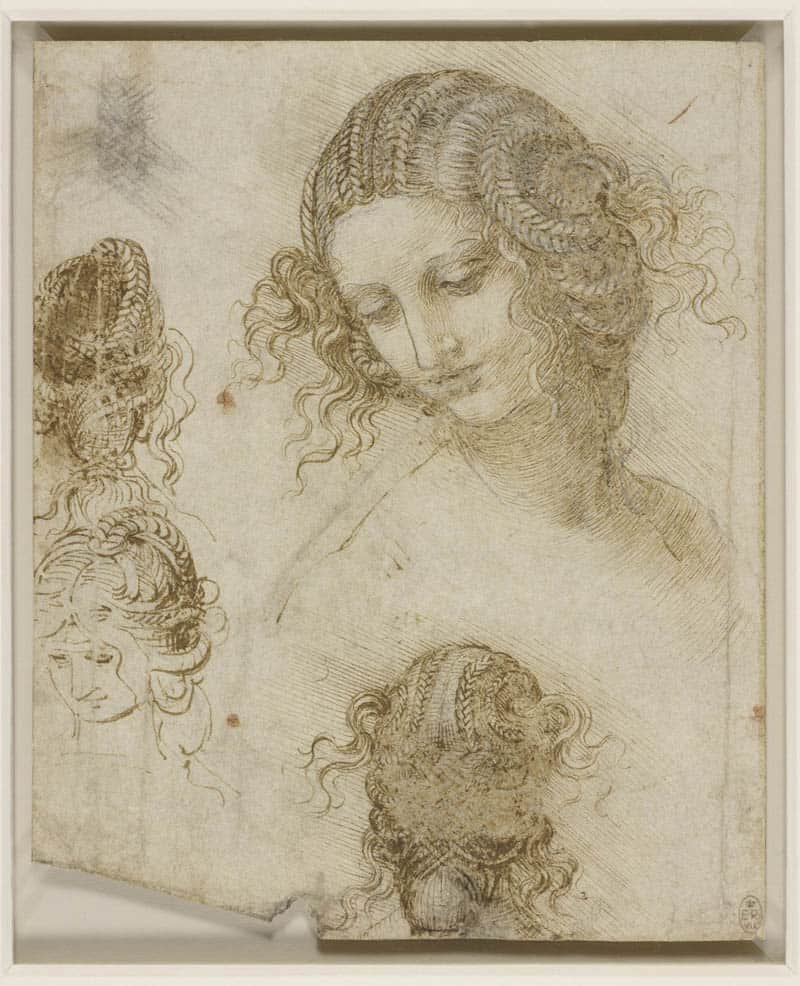 Leonardo Da Vinci, Studi di testa femminile (1505-1507) matita nera, penna e inchiostro su carta, 198 ✕ 166 mm The Royal Collection / HM Queen Elizabeth II