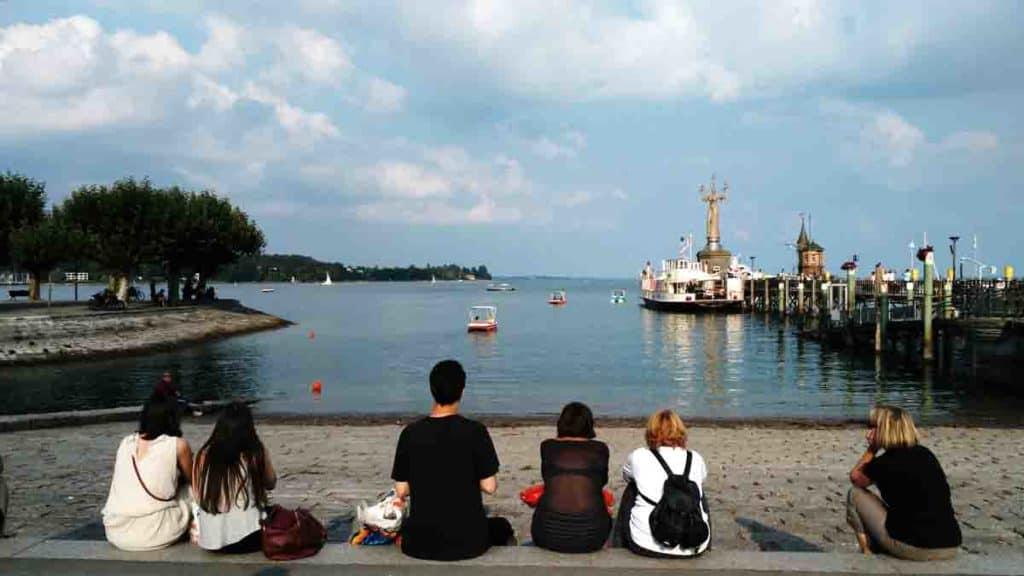 Il porto di Costanza Germania con la statua di Imperia sullo sfondo