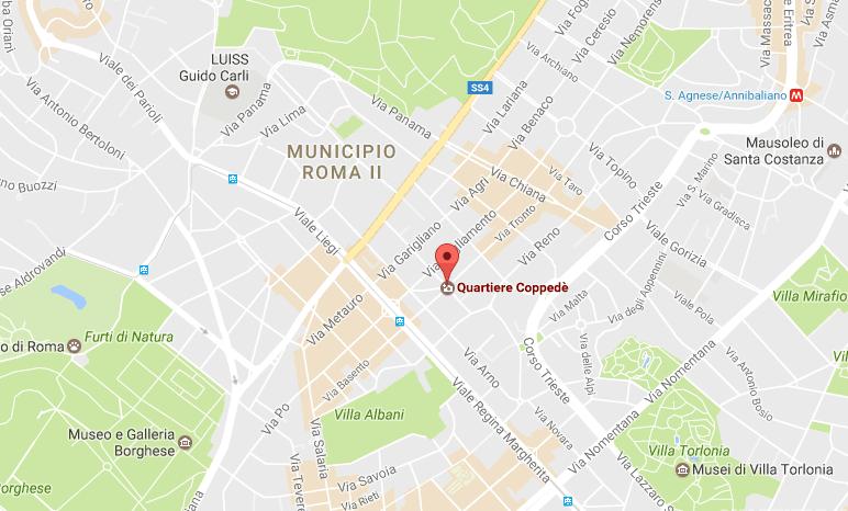 quartiere coppedè mappa
