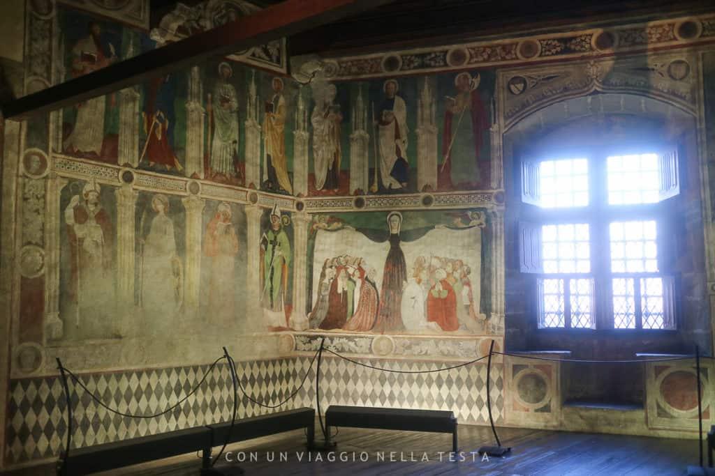 Dettaglio degli affreschi della cappella privata