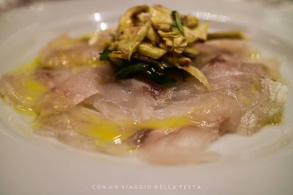 Il carpaccio di pesce del Ristorante Mes Amis Milano
